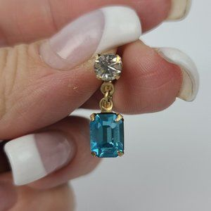Vintage 12K Gold Fill Blue Screw Back Earrings